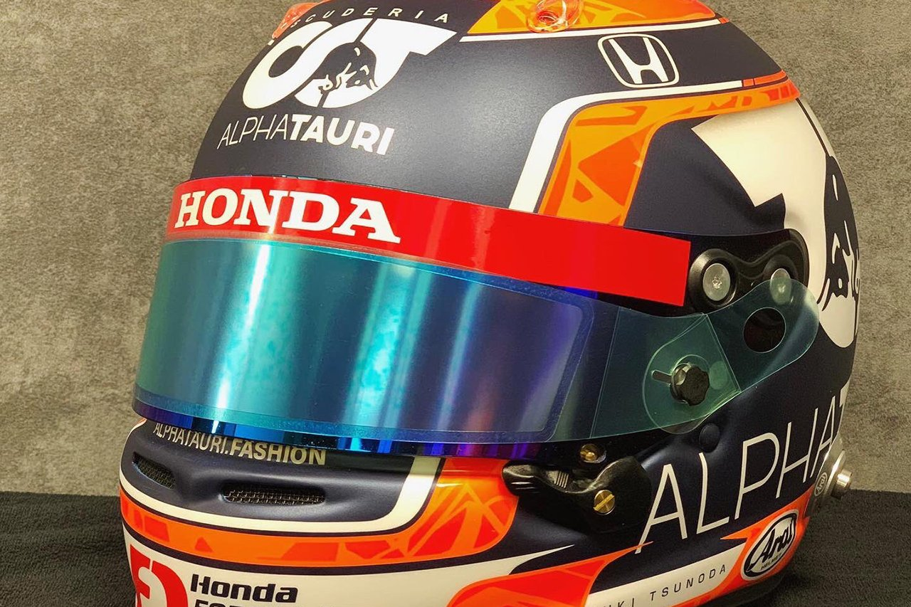 角田裕毅、アルファタウリ・ホンダF1での初走行に新ヘルメットを準備