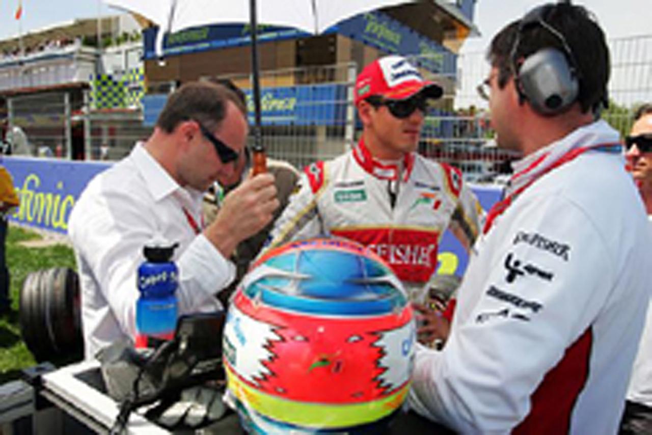 オープニングラップでレースを終えたエイドリアン・スーティル(フォース・インディア)