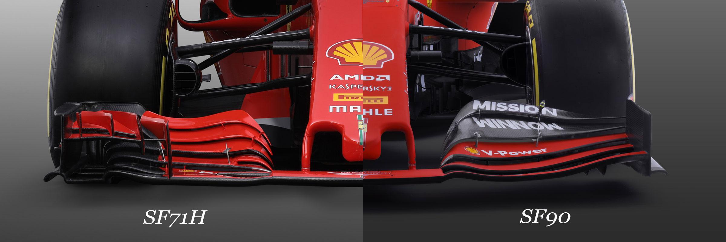 フェラーリ フロントウイング 新旧比較