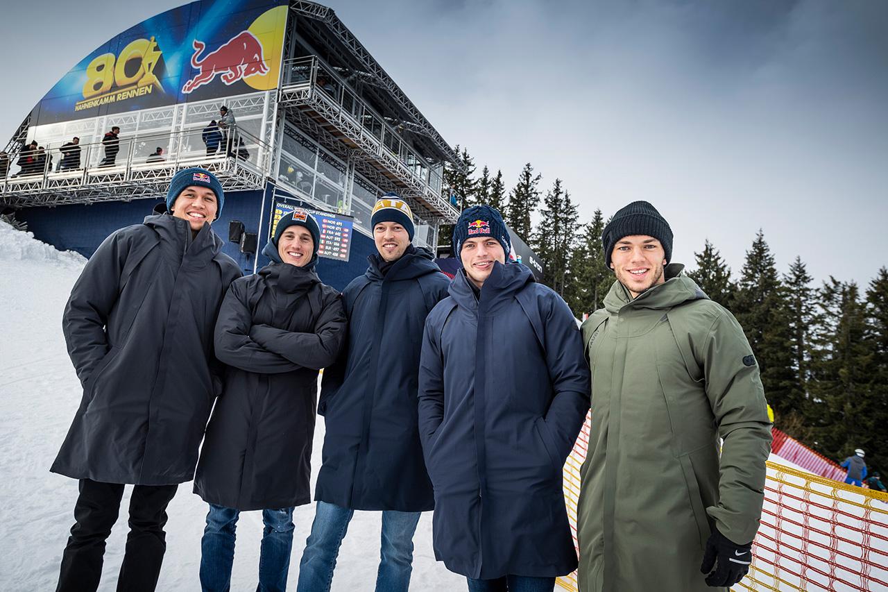 レッドブルとアルファタウリのF1ドライバーがアルペンスキーW杯を観戦