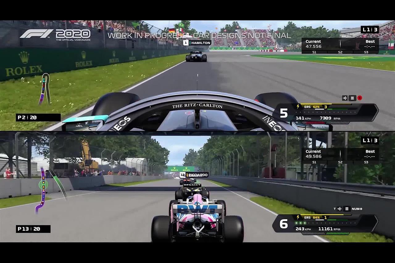 【動画】 F1公式ゲーム『F1 2020』 2画面分割機能