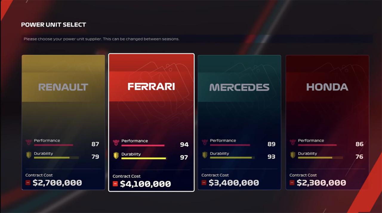 F1 2020:エンジンサプライヤー