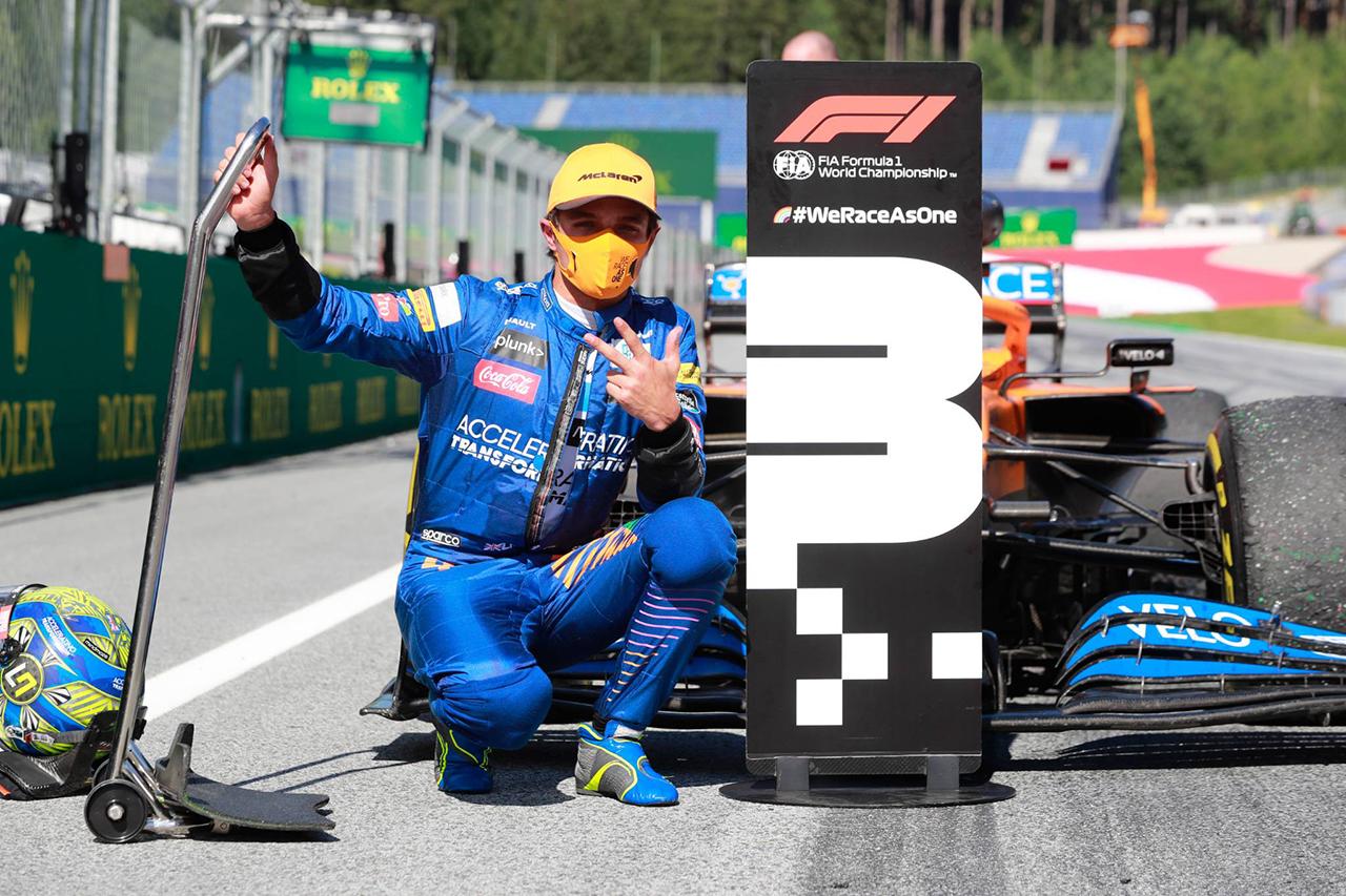 マクラーレンF1のランド・ノリス、劇的なF1初表彰台 「言葉にならない」  / F1オーストリアGP