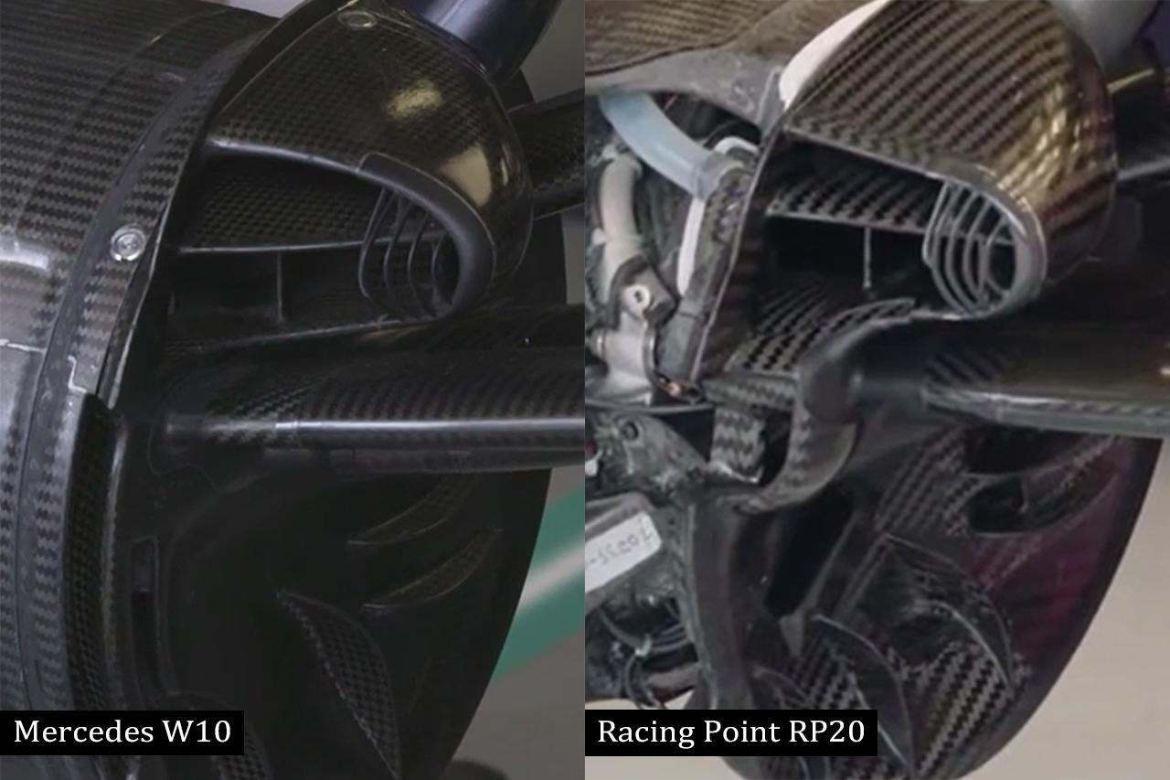 F1比較:メルセデスW10とレーシング・ポイントRP20のブレーキダクト