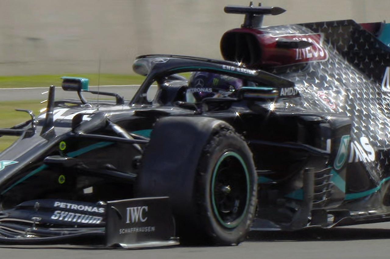 ルイス・ハミルトン、3輪状態のF1マシンで時速230kmで到達 / メルセデス F1イギリスGP