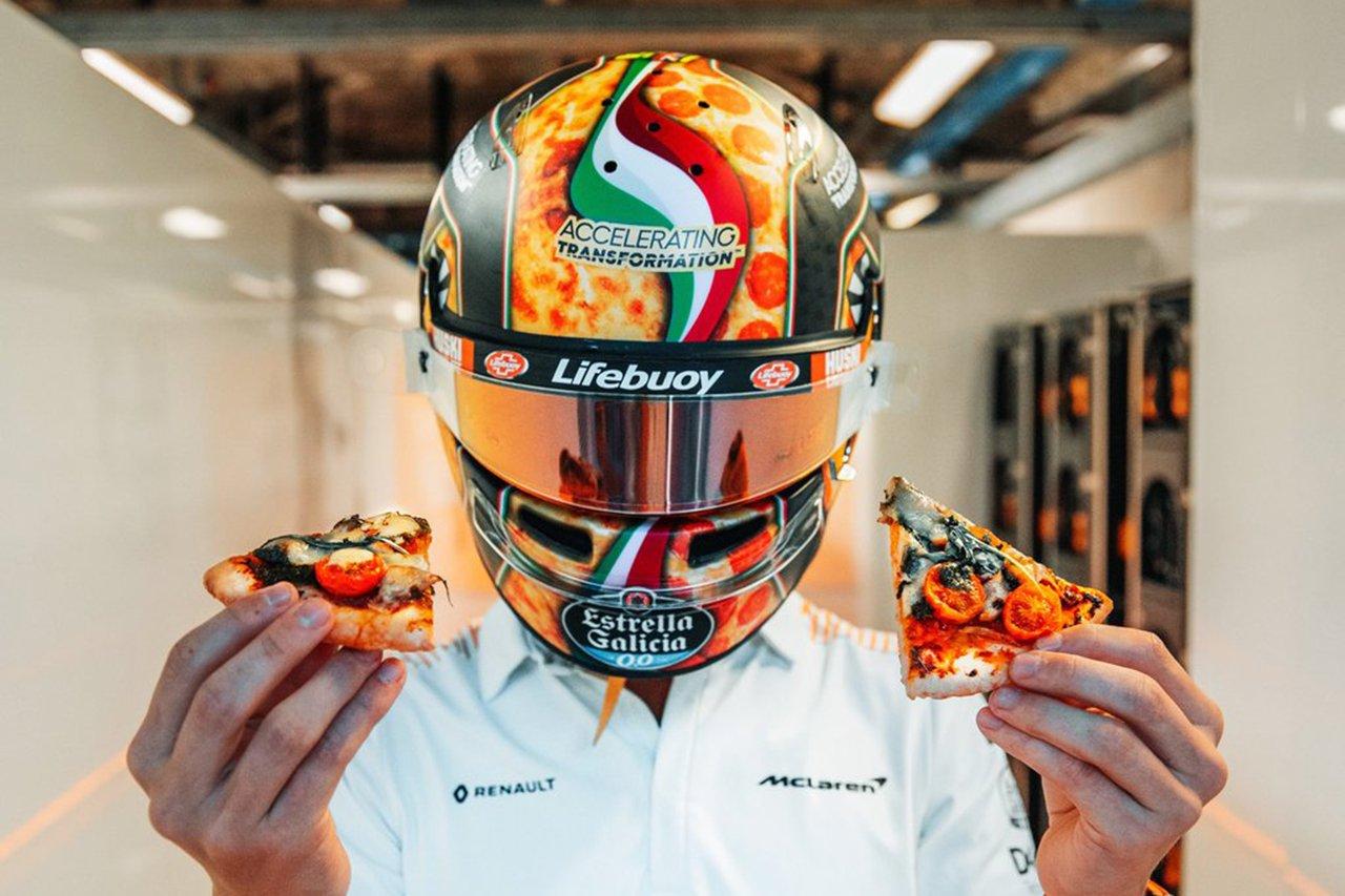 """ランド・ノリス、F1イタリアGPは""""ピザ柄""""ヘルメットで参戦 / マクラーレン"""