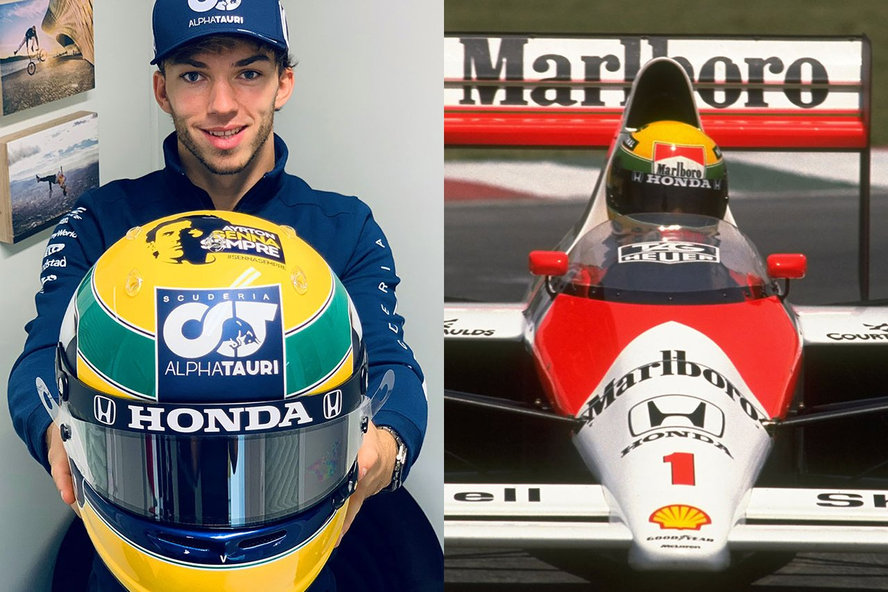 ピエール・ガスリー、アイルトン・セナ仕様のヘルメットを着用 / アルファタウリ・ホンダ F1エミリア・ロマーニャGP(イモラ・サーキット)