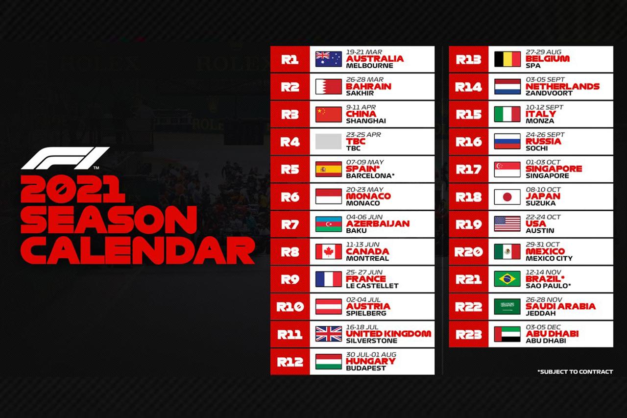 2021年のF1世界選手権:暫定カレンダーを発表…史上最多の23戦で構成。F1ベトナムGPのスロットは未定