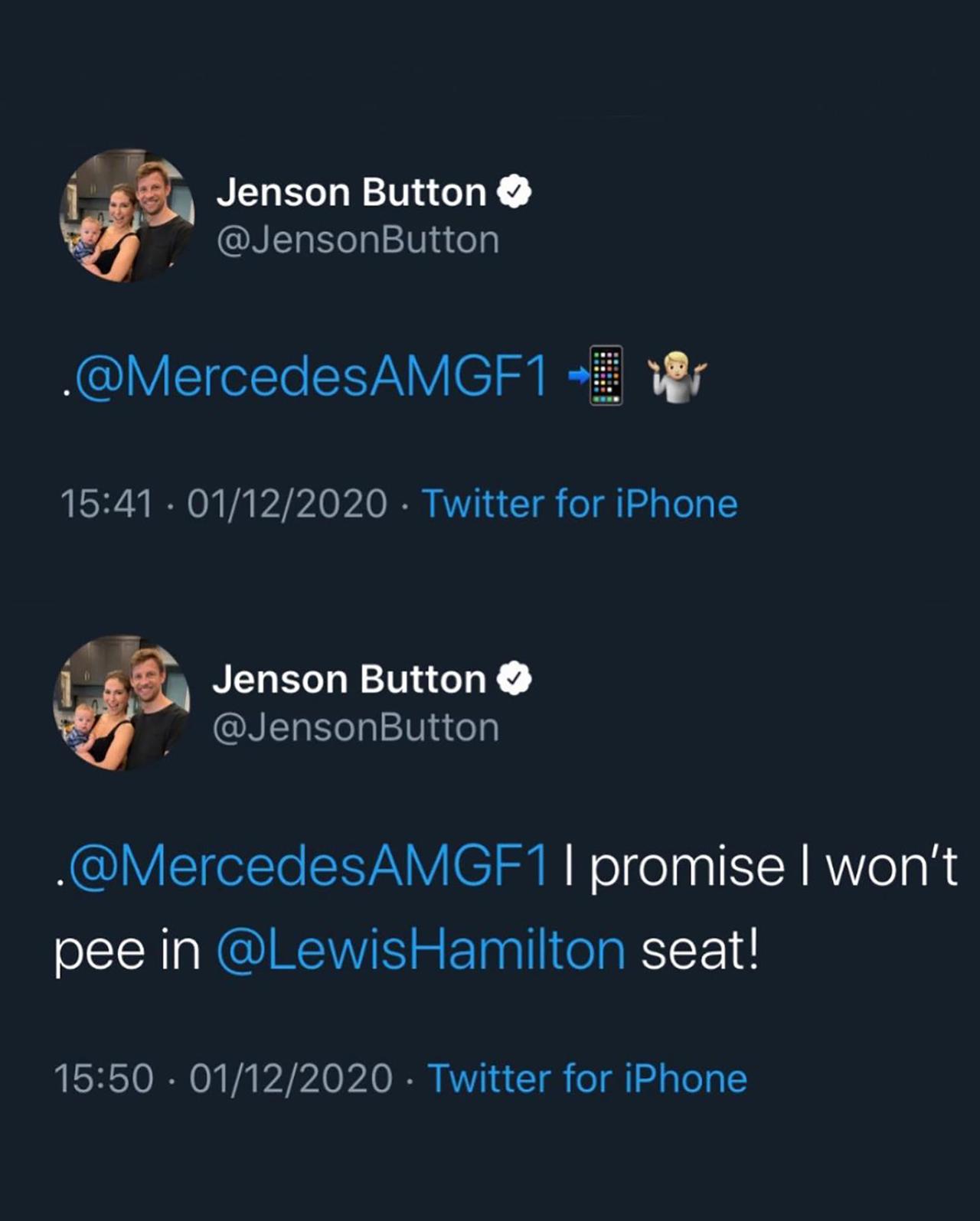 ジェンソン・バトン メルセデスF1 ツイート
