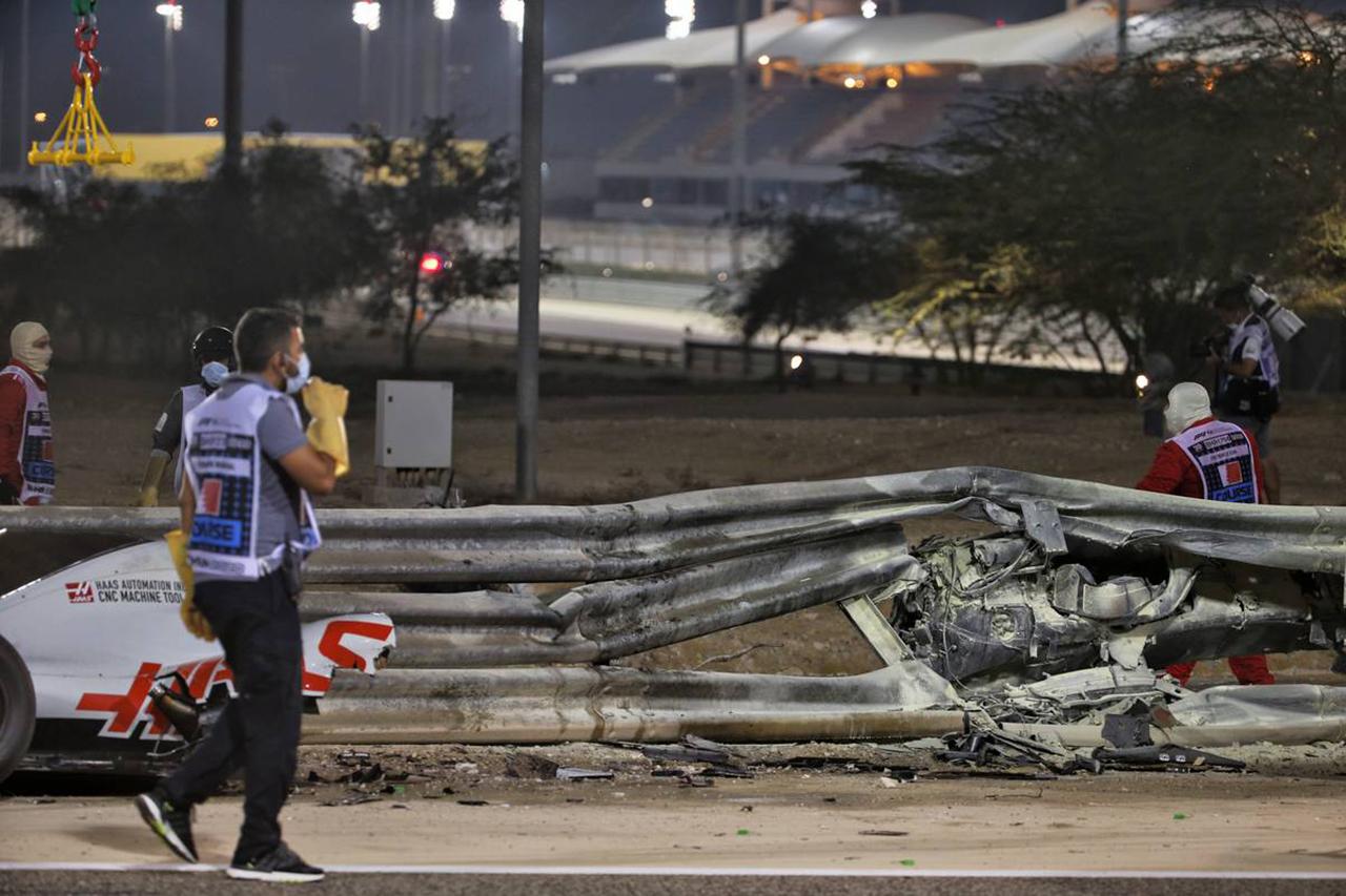 F1サヒールGP:グロージャンの事故現場を含めて安全対策を強化