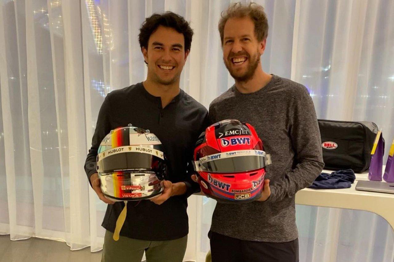 F1:セルジオ・ペレス、セバスチャン・ベッテルとヘルメットを交換
