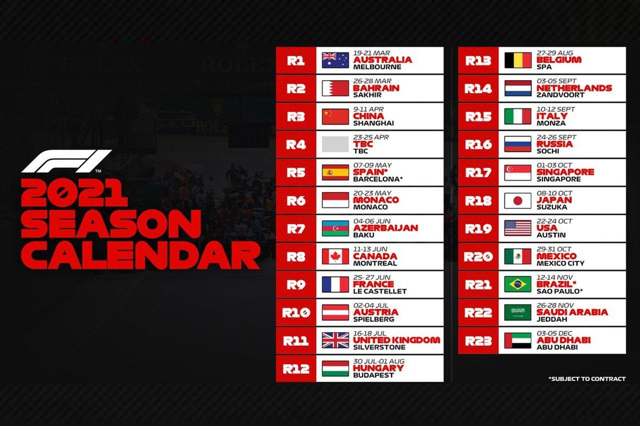 FIA、2021年のF1世界選手権のカレンダーを承認…史上最多の23戦