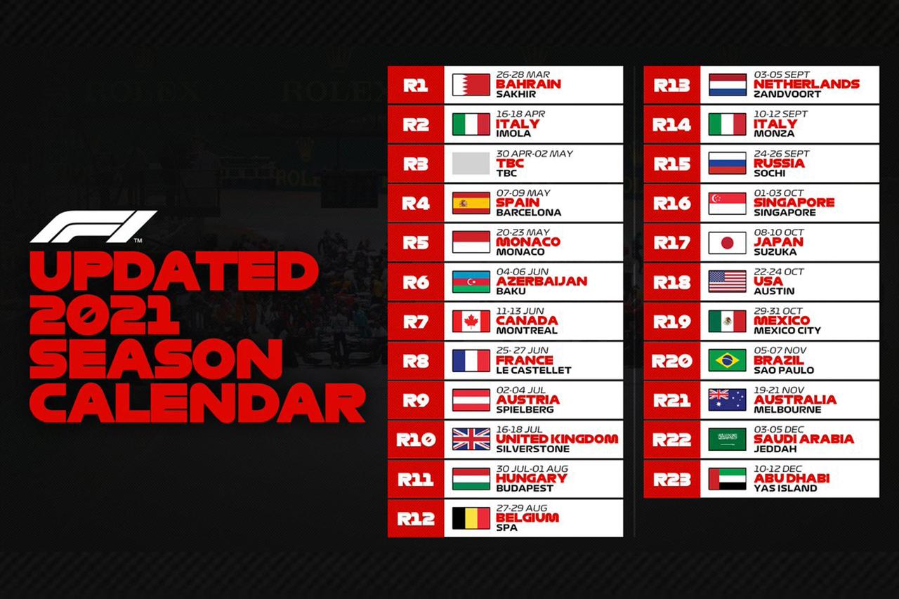 F1:2021年の改訂版カレンダーを発表…開幕戦はバーレーンに変更。オーストラリアは11月に移動し、イモラが復活