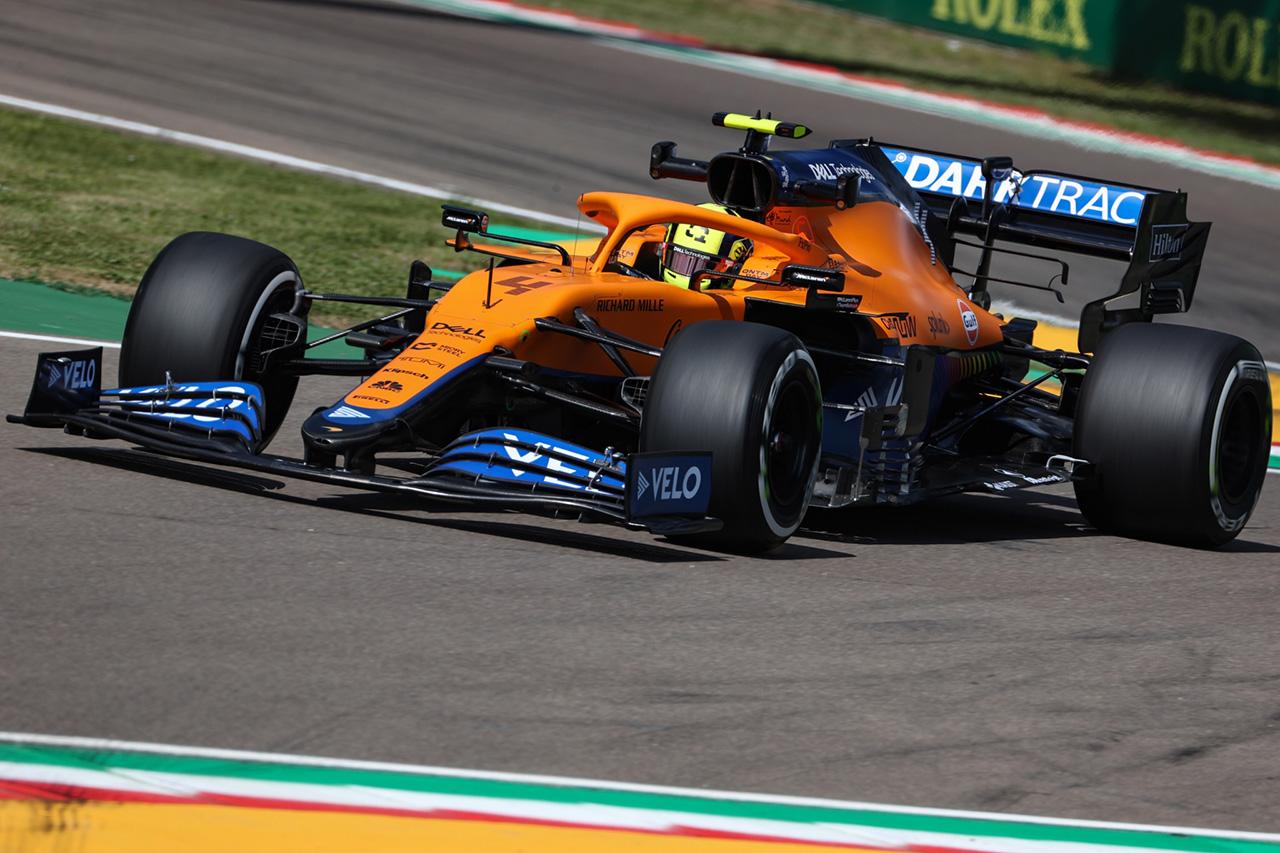 マクラーレンF1のランド・ノリス 「フェラーリのペースはショックではない」 / F1エミリア・ロマーニャGP 金曜フリー走行