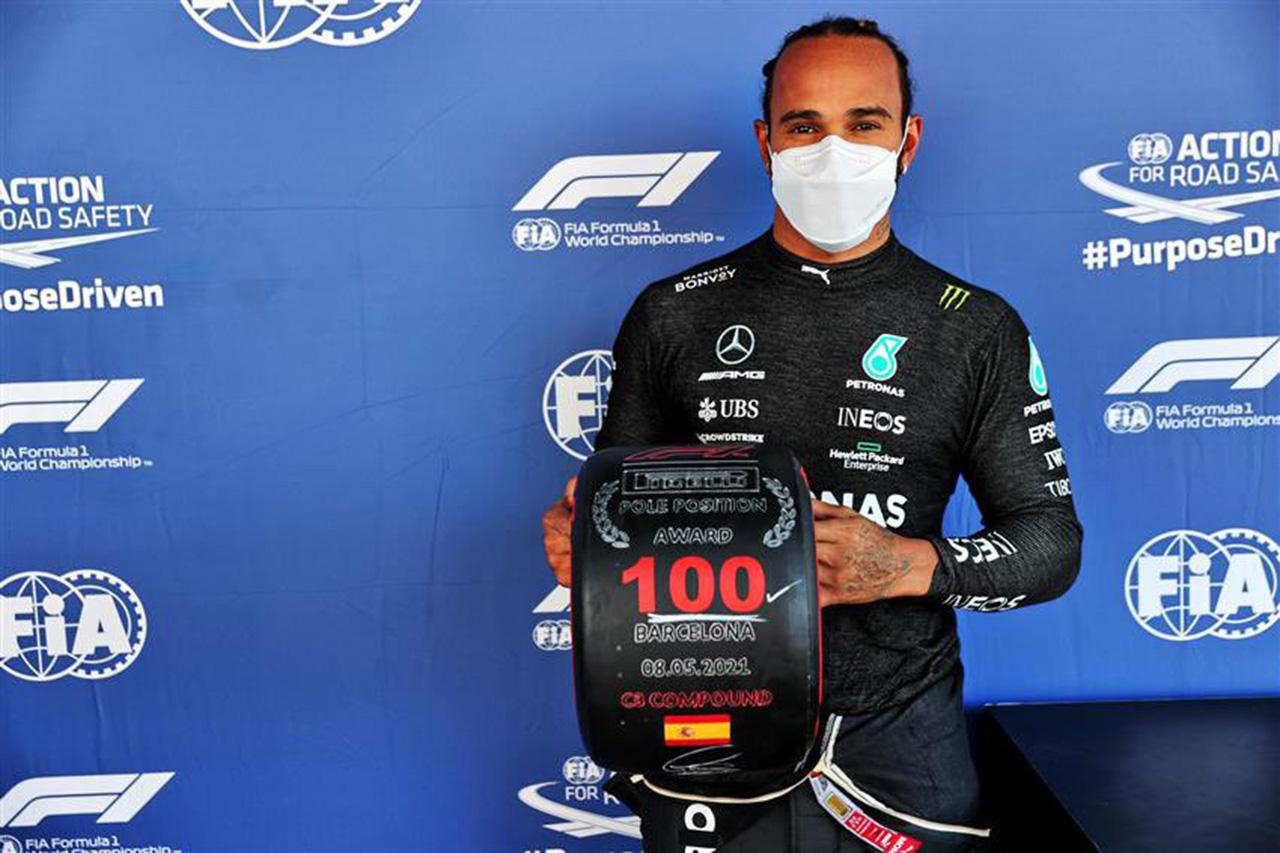 F1スペインGP 予選:ルイス・ハミルトンが通算100回目のポール獲得。レッドブルF1のフェルスタッペンが0.036秒差で2番手