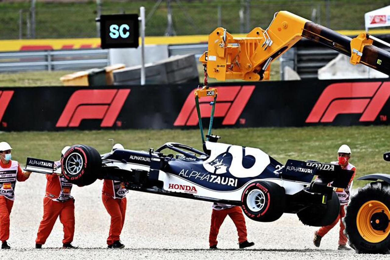 ホンダF1、角田裕毅のトラブルを説明 「エンジンに燃料がいかなくなった」 / F1スペインGP 決勝