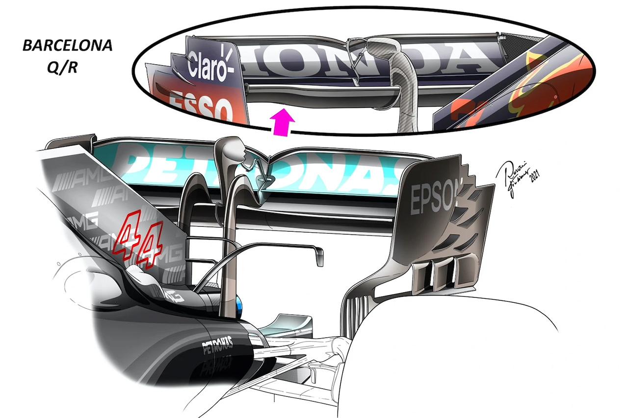 メルセデス/レッドブル リアウイング比較 / F1スペインGP