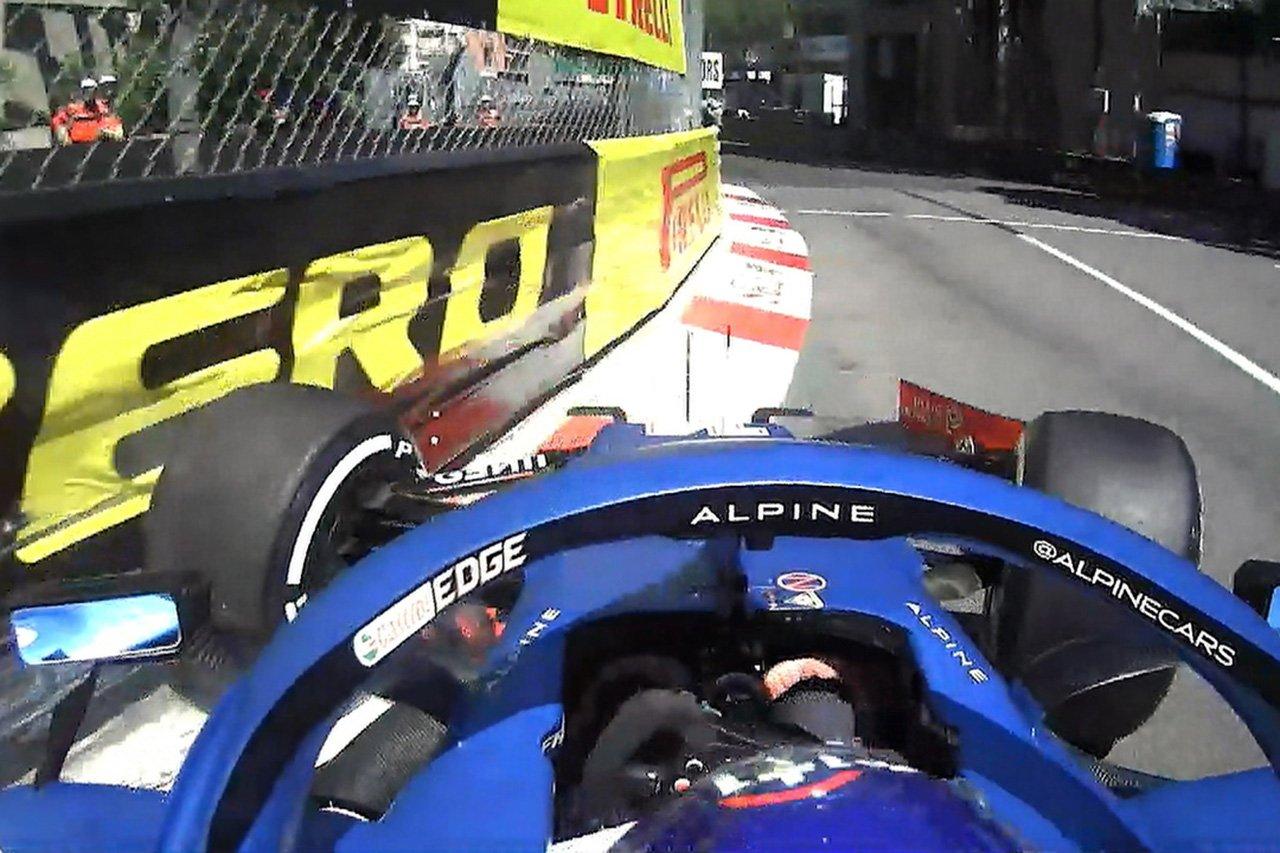 アルピーヌF1のフェルナンド・アロンソ 「ウォールに軽くキスしただけ」 / F1モナコGP