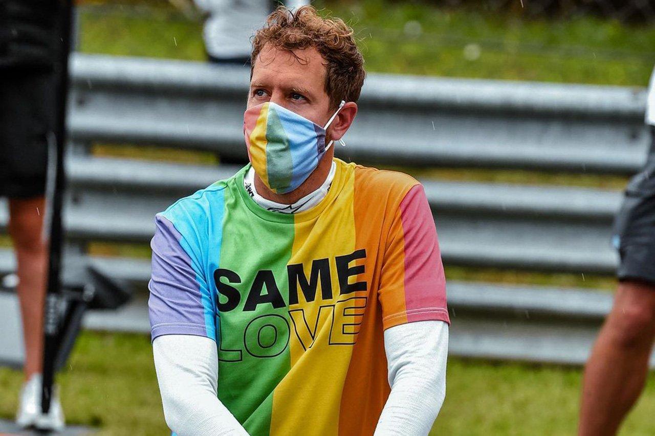 """F1:セバスチャン・ベッテル、失格覚悟で""""反LGBT法""""抗議Tシャツを着用"""