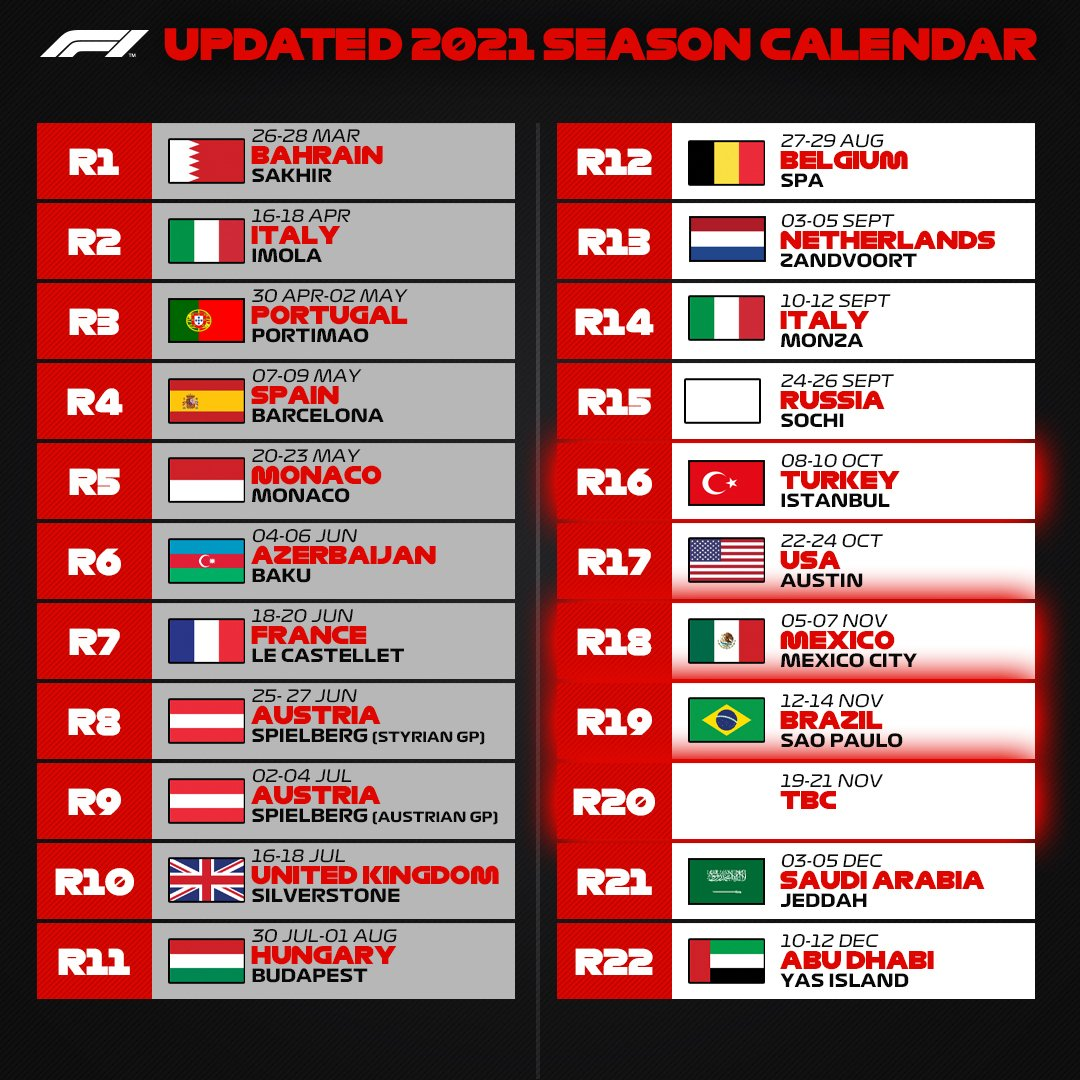 F1、日本GP中止で22戦に縮小の2021年改訂版F1カレンダーを発表