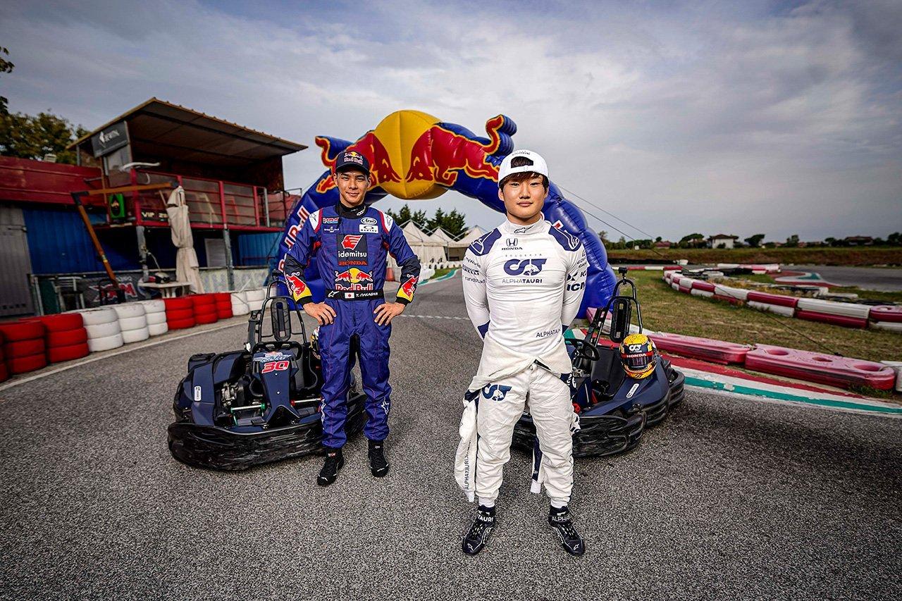 MotoGPライダーの中上貴晶とF1ドライバーの角田裕毅がカートで対決